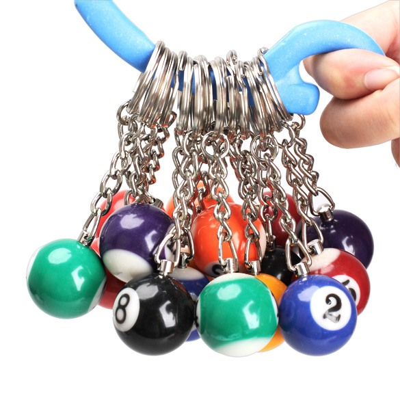 16PCS Snooker Ball Set Keychain Billiards Pool Keyring Gift 25mm @M23
