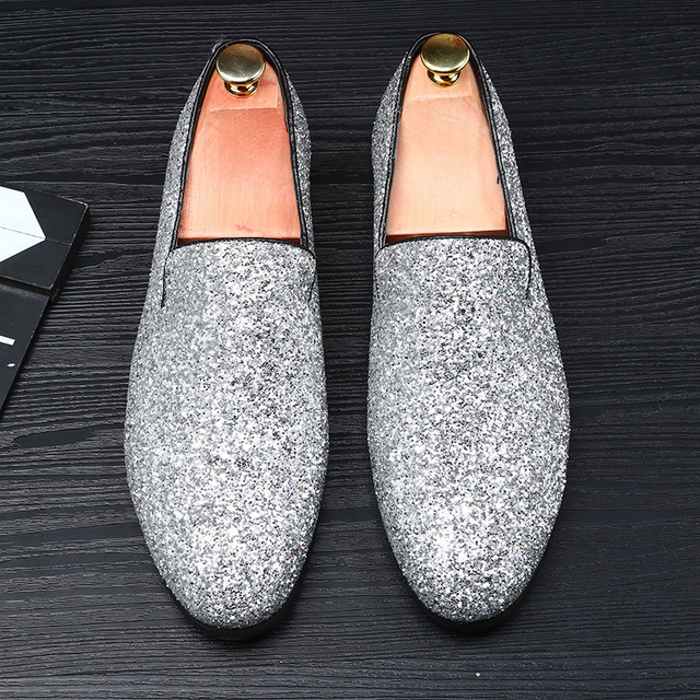 c953802123c99 US $45.03 |Europe Bling Flat Leather Shoes Rhinestone Fashion Mens Loafer  Dress Shoes Men Casual Diamond Pointed Toe Shoes Gold Silver #33-in Men's  ...