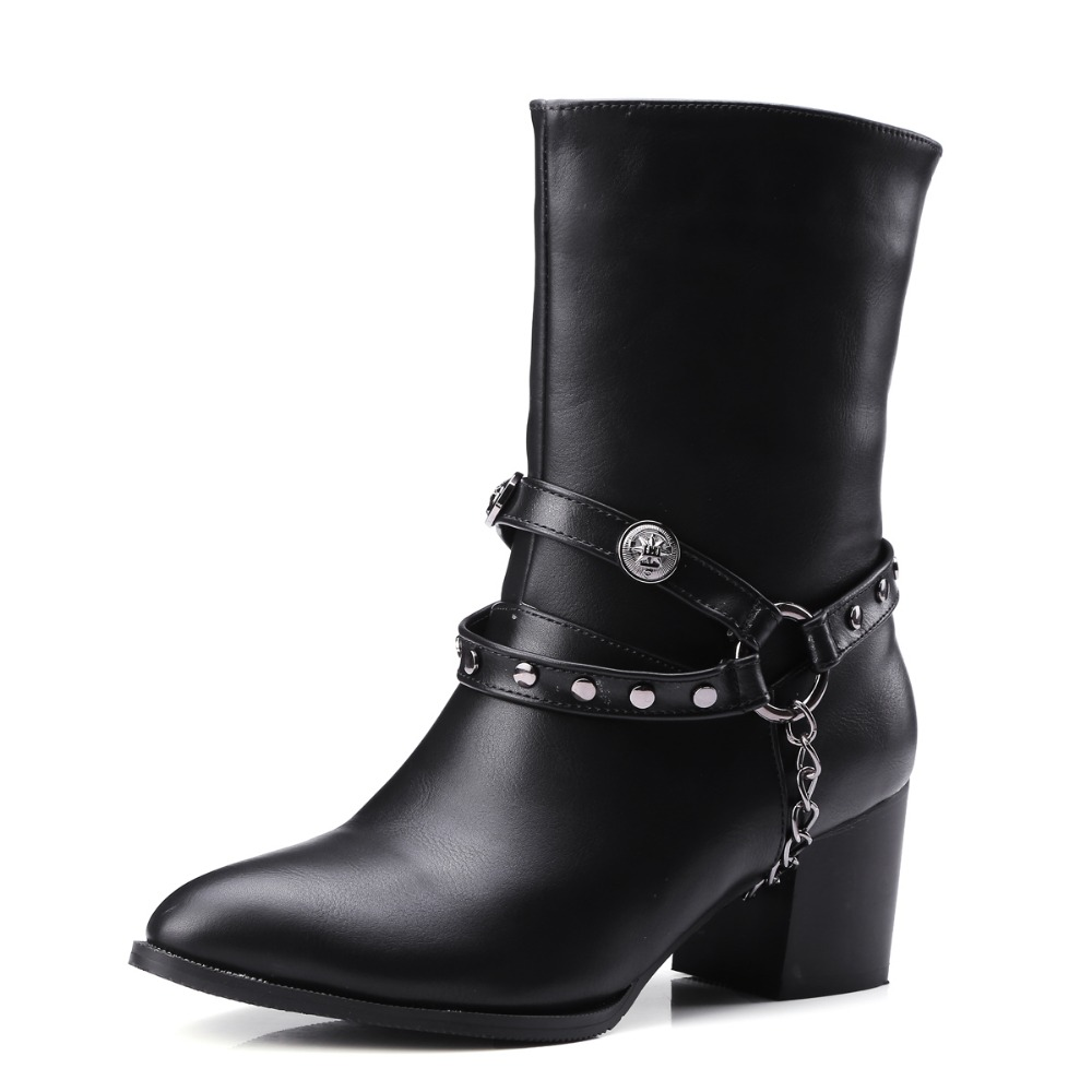 New Popular Women Mid-Calf Boots Poited Toe Square Heels Boots Black Grey Fashion Shoes Woman US Size 4-15 double buckle cross straps mid calf boots