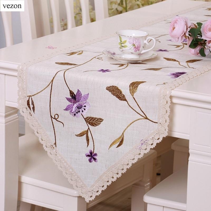 vezon Linen Elegan Floral Bordir Table Runner Bunga Halus Bendera - Tekstil rumah