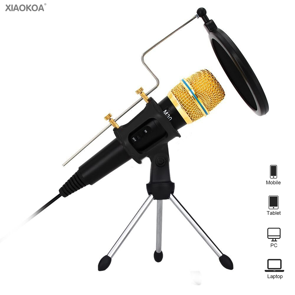 Condenser Microphone for Computer with Stand for Phone microphone iphone microfone Karaoke mic 3.5mm with sound card usb XIAOKOA heat live broadcast sound card professional bm 700 condenser mic with webcam package karaoke microphone