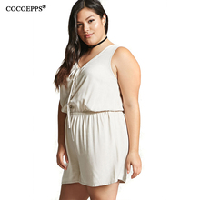 Women Large Size Rompers Plus Size Ladies V Neck Sleeveless Short Jumpsuit
