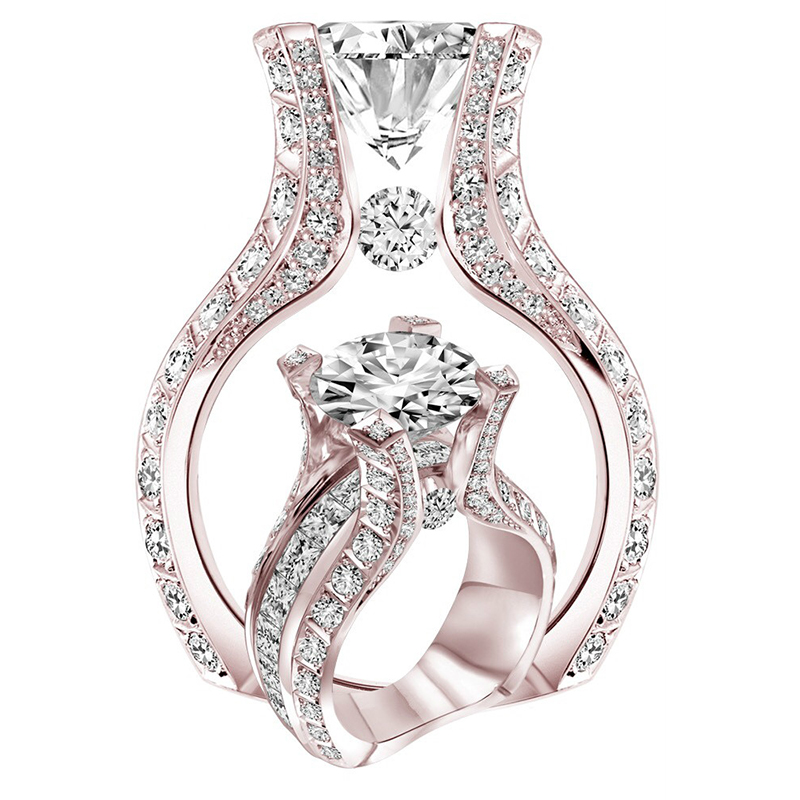 Trendy Silver/Rose Gold Color White CZ Stone Crystal Wedding Rings For Women Zinc Alloy Finger Rings Party Jewelry Gift Z4Y023