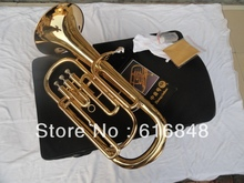 Wholesale – 3 straight key Bb bass,tenor French Horn is golden