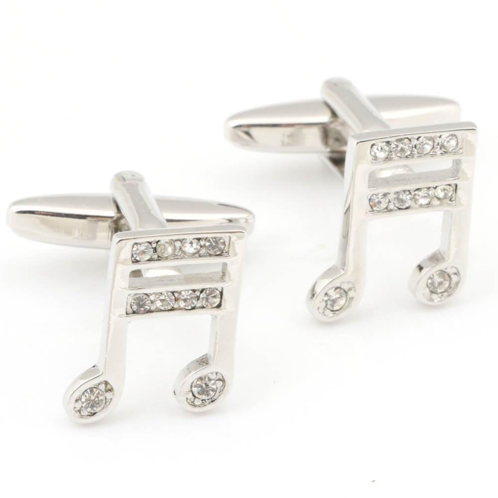 Men's shirt cufflinks wedding gift jewelry silver-plated white crystal cufflinks