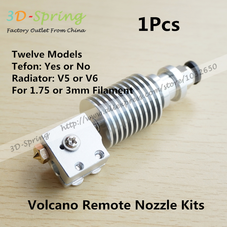 1Pcs Volcano Remote Nozzle Kits V5 V6 1.75mm 3mm with Teflon Long Distance Heating Print Head Extruder Head For 3D Printer