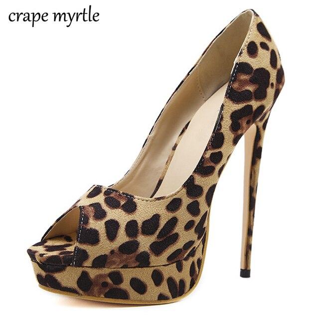bridal shoes pumps women leopard shoes Platform heels spring shoes peep toe  women s shoes with high 437e1e1bd4
