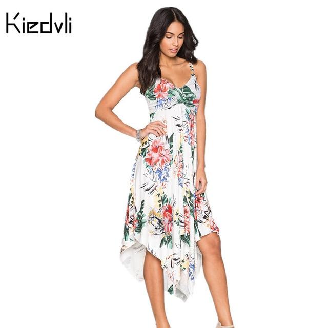 High Elasticity Bohemia Irregular Long Maxi Beach Dress Women V-Neck Print Summer  Ladies Slim Vestidos Plus Size F0937 91ec32881300