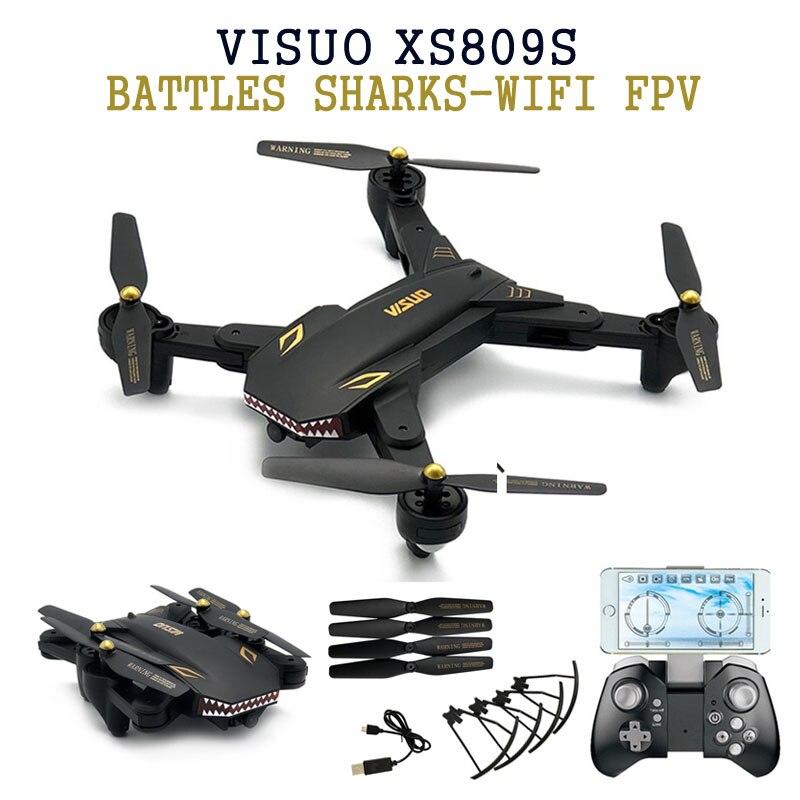 Visuo XS809S сражения акул WI-FI FPV W/Широкий формат Камера 20 минут время полета складной RC Quadcopter в visuo XS809HW