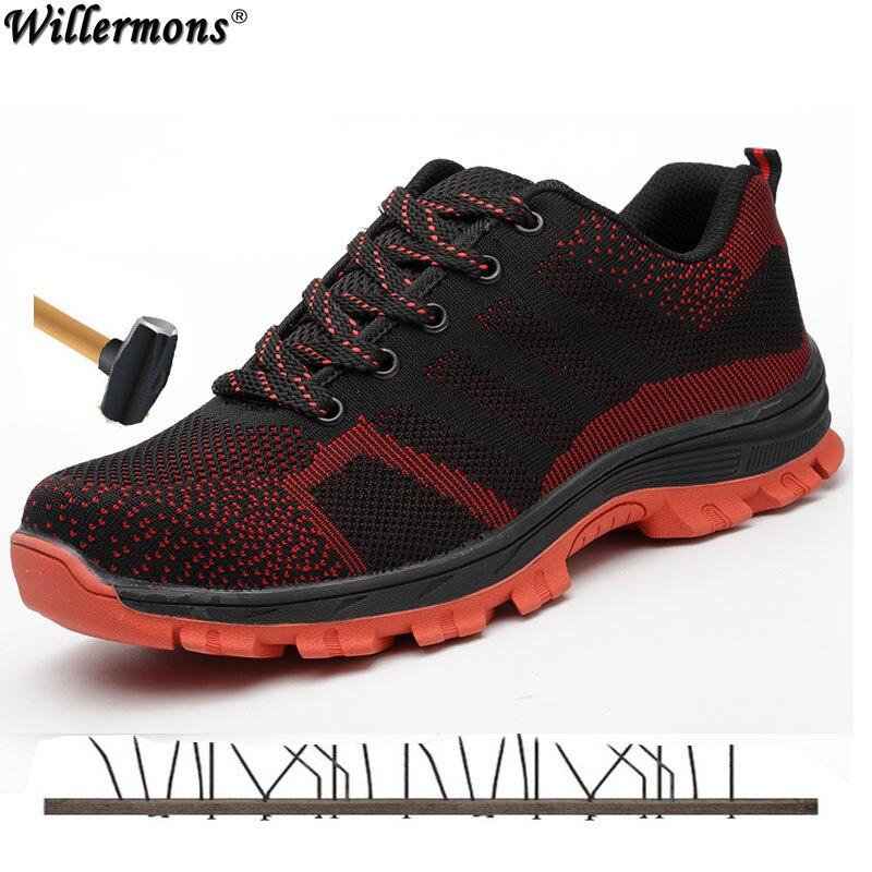2018 Plus Size Ao Ar Livre dos homens Malha Respirável Biqueira de Aço Sapatos de Segurança do Trabalho Botas De Homens Anti-slip Punção Sapatos Protetivas à prova