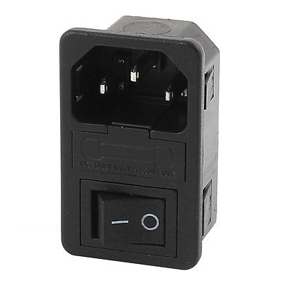 AC 250V 10A 4 Terminals Black Rocker Switch Inlet Power Socket w Fuse Holder 660v ui 10a ith 8 terminals rotary cam universal changeover combination switch