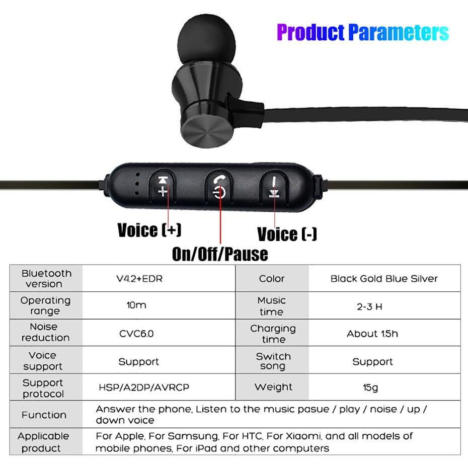 Wireless Headphone Bluetooth Earphone Magnetic Headset Neckband Sport Running Bluetooth Earphones For iPhone 7 X Xiaomi Earphone (14)