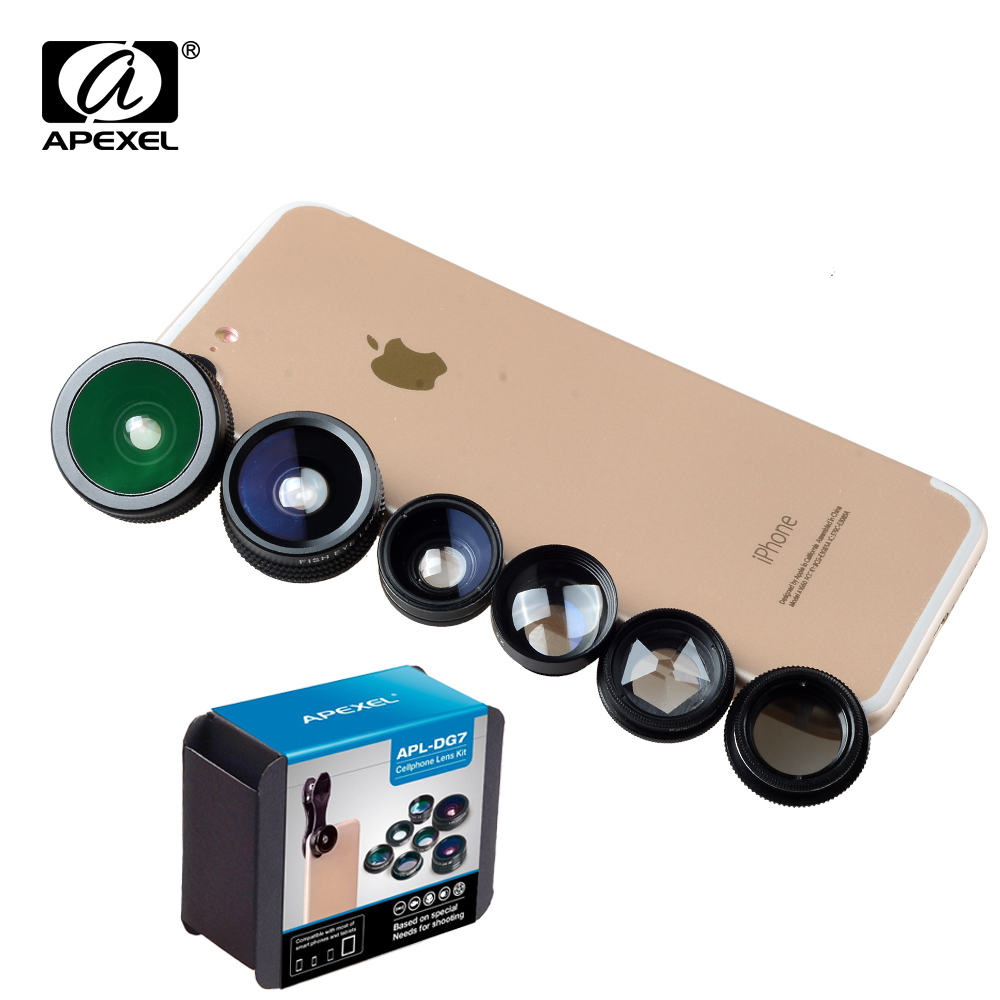 APEXEL Phone Camera Lens Kit Fish Eye Wide Angle/macro Lens CPL Kaleidoscope and 2X telephoto zoom Lens 7in1 for iPhone SAMSUNG 12
