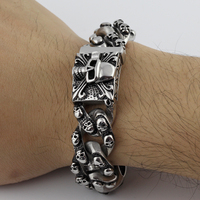 New Casting Punk Jewelry 316L Stainless Steel Silver Skull Skeleton Jewelry Men's Bracelet stately steel jewelry