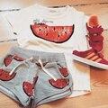 2015 moda de verano traje del deporte del bebé niñas y niños ropa de la sandía lindo ropa para niños