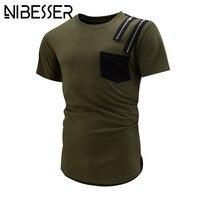 Nibesser 2017 tシャツ男性夏ショートスリーブトップtシャツファッションスリムフィットジッパーおかしいヒップホップtシャツアーミーグリーンz30