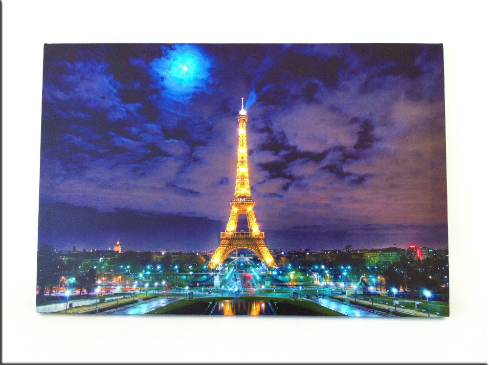 8 led lights wall art canvas paintings light up stretched for How to light a painting on the wall