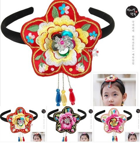 Imported Traditional Korea Hanbok Kids Hair Bands 3 colors Hair Accessory for Girls Traditional Korean Hair
