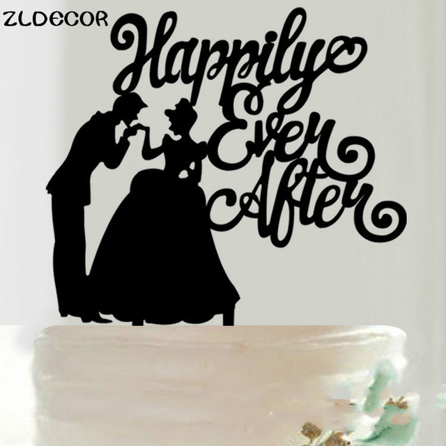 ZLDECOR Happily Ever After Cake Topper Acrylic Silhouette Wedding Decor