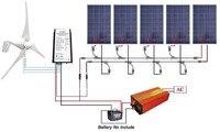 900 Вт Солнечный ветер гибридных комплект: 400 Вт ветряной генератор и 5*100 Вт Панели солнечные и 1KW чистая синусоида инвертор