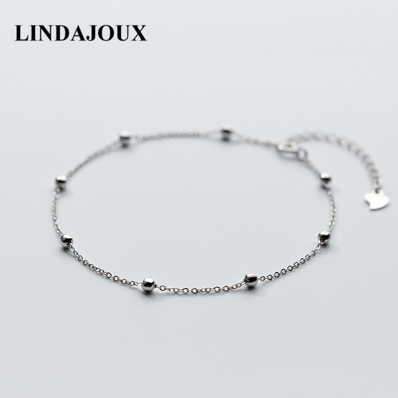 LINDAJOUX 925 Sterling Silver Beaded Link Chain Anklet For Women S925 Ankle Bracelet Adjustable Length 925 sterling silver cz by the yard anklet bracelet 10