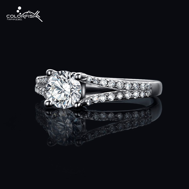 colorfish women contemporary fashion jewelry 075 ct brilliant round engagement ring split shank inlay cubic zircon - Contemporary Wedding Rings