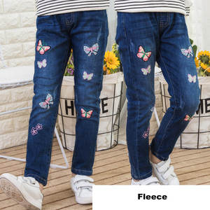 Image 4 - Winter 2018 Fleece Jeans for Children Girls Casual Teenage Thicken Warm Embroidered Trousers 3 12 Years Washing Blue Baby Jeans