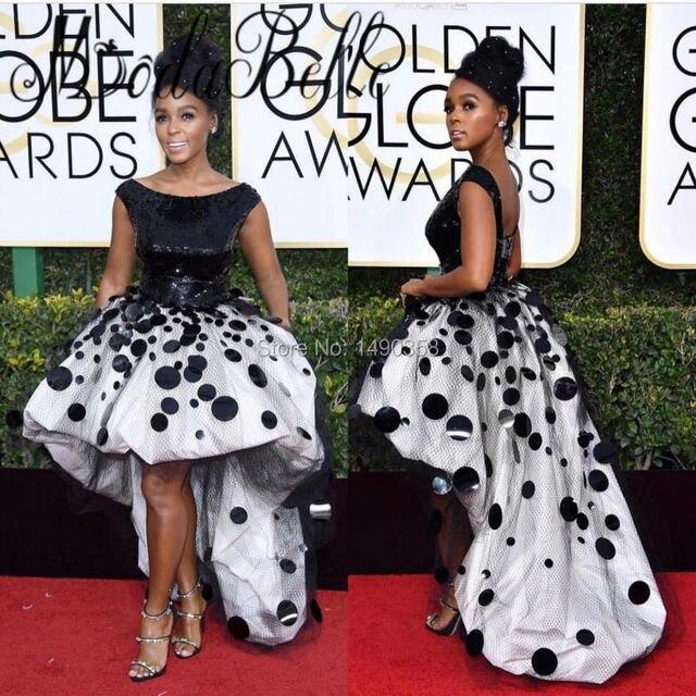 Africano Branco E Preto Vestidos de Celebridades Lantejoulas Golden globe Award 2017 Puffy Alta Baixa Backless Preto Vestido de Baile Menina