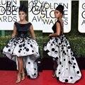 Blanco Y Negro Con Lentejuelas Vestidos de La Celebridad 74ª africano Premio Golden Globe 2017 Puffy Alto Bajo Backless Chica Negro Vestido de Fiesta