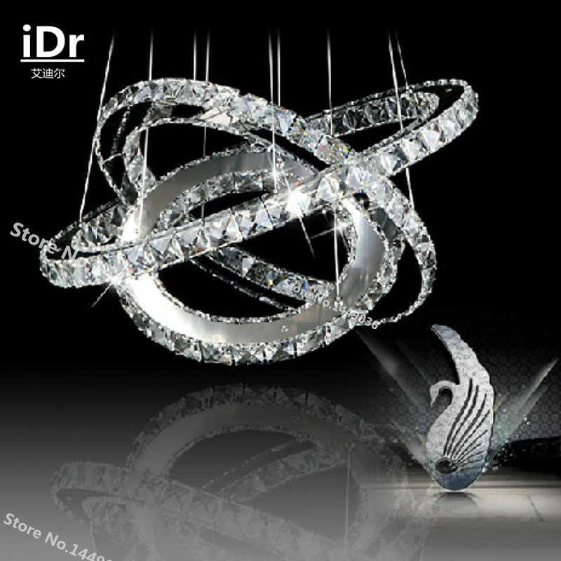 3 Rings Crystal LED Chandelier Light Fixture Crystal Light Lustre Hanging Suspension Light for Dining Room, Foyer, Stairs c-018