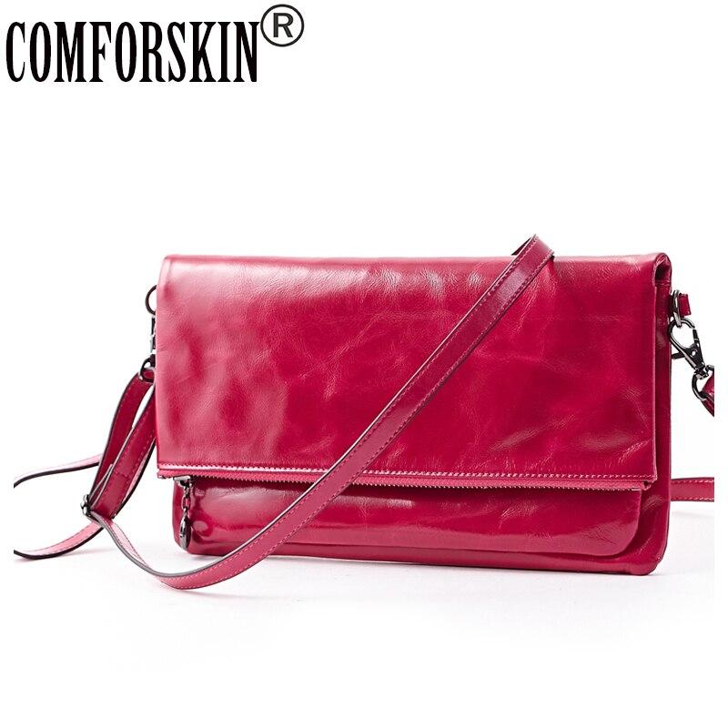 COMFORSKIN Premium 100 Retro Leather Locomotive Bag Large Capacity Cowhide Ladies Messenger Bags Women s Bags