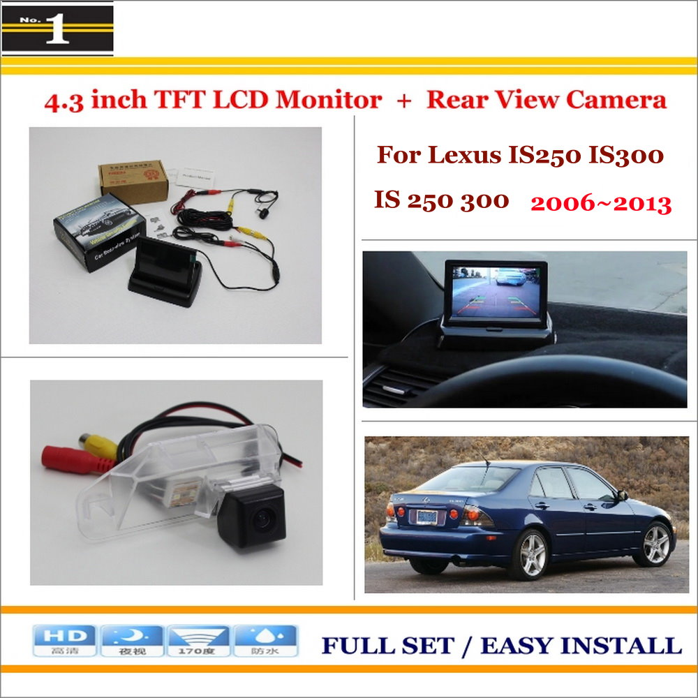 Auto Rear View Camera Back Up + 4.3 LCD Monitor = 2 in 1 Parking Assistance System - For Lexus IS250 IS300 IS 250 300 2006~2013 forward terra 2 0 disc 16 2014 white black