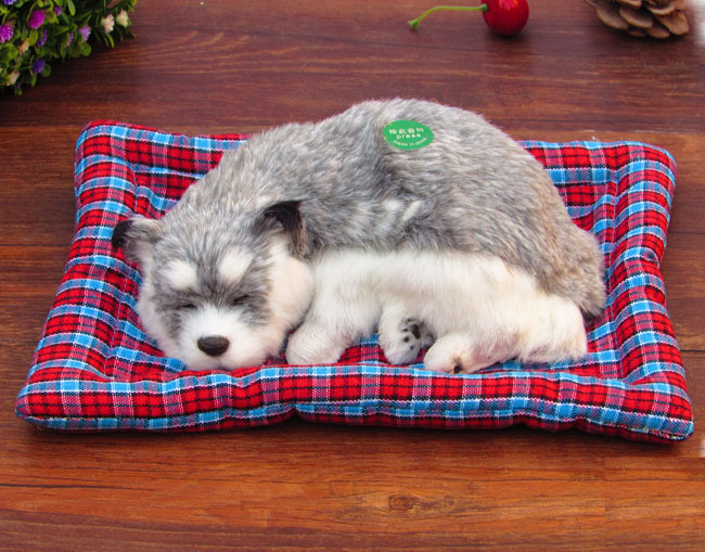 about 25x20cm gray husky sleeping dog furry fur dog, sound bark ,model ornament scene layout prop decoration gift h1296