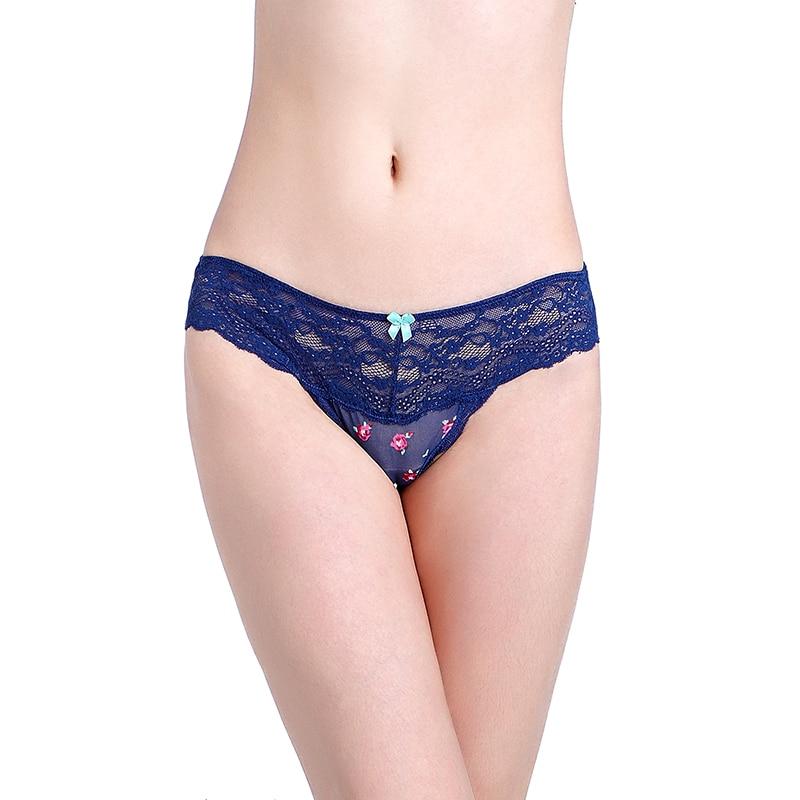6ecbb5a9de8 Sexy Lace Women Dark Blue Flowers Thongs and G strings Briefs Underwear  Girl Thongs Lady Panties Breathable Lingerie Underwear-in women's panties  from ...