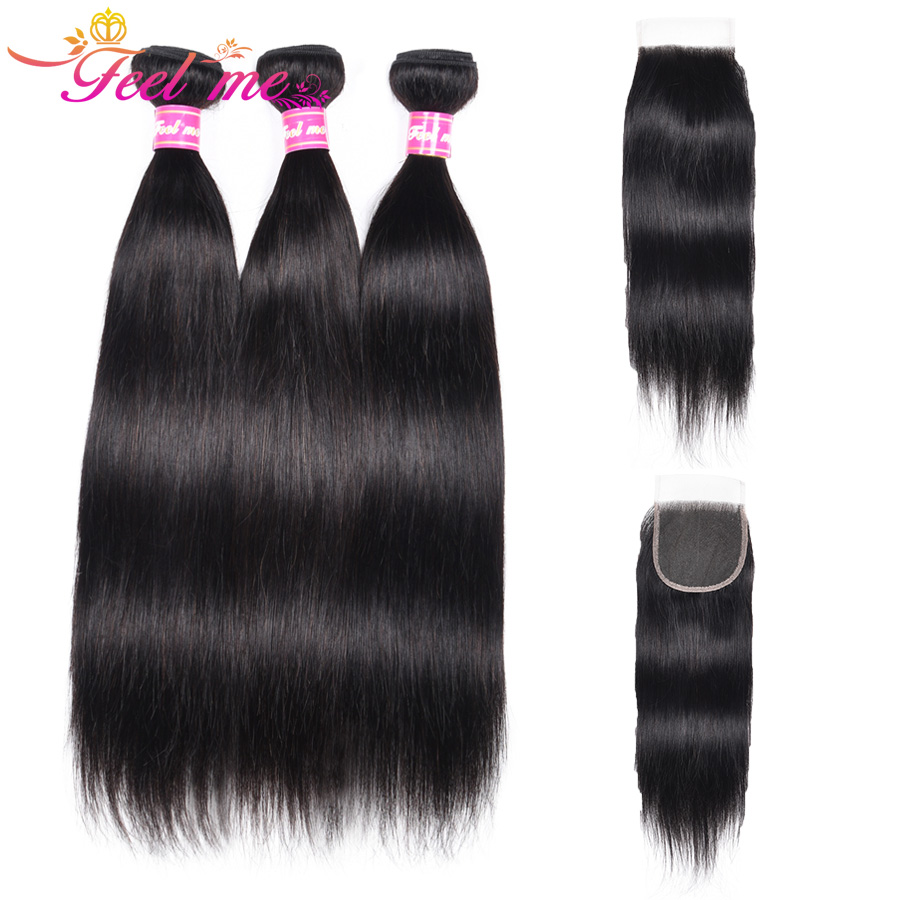 Feel Me Hair Straight Human Hair 3 Bundles With Closure Free Part Brazilian Human Hair Bundles With Lace Closure 4*4 Non-Remy