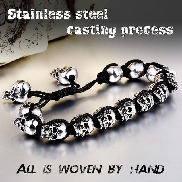 STAINLESS STEEL SKULL CHARM BRACELET