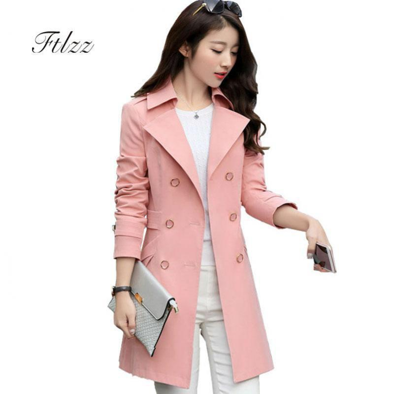 Women Casual Double-breasted   Trench   Coat 2019 Spring Autumn Slim Meidum Long Elegant Woman Outerwear Korean Style Windbreaker