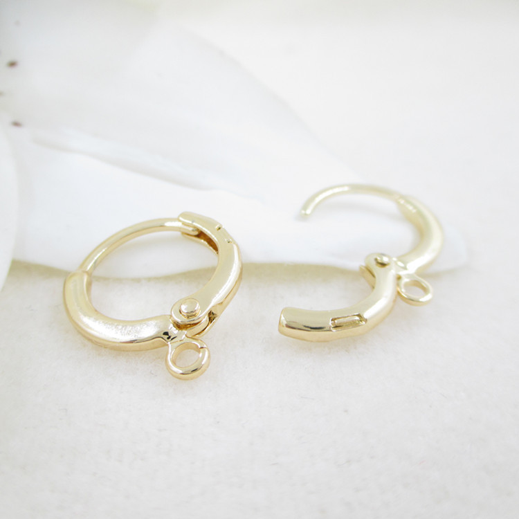12PCS 12x14MM 24K Gold Color Plated Earring Hoop For DIY Jewelry Making Finding  Accessories