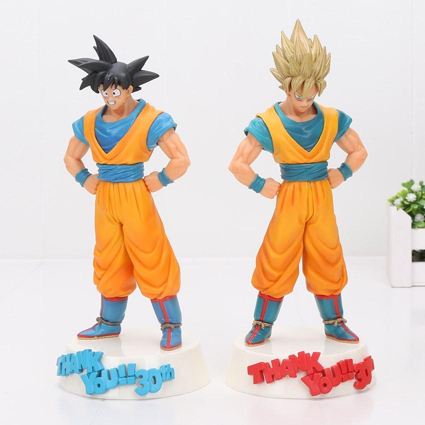 2 pcs/lot 22 cm Dragon Ball Z 30th anniversaire fils Goku & Super Saiyan fils Goku Pvc belle Figure Pvc jouet de collection