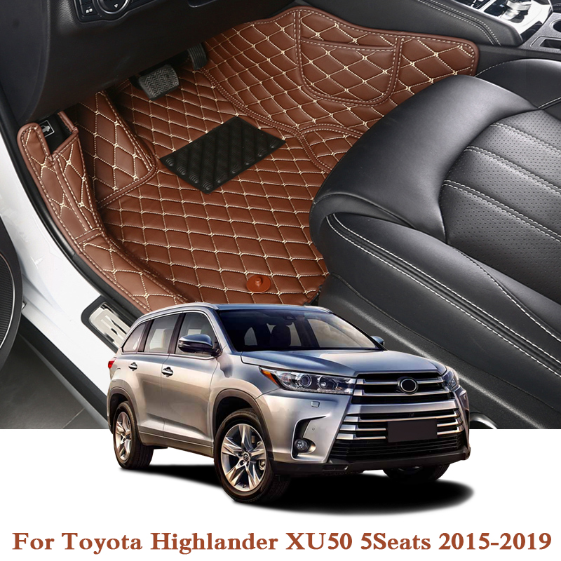 Car Styling PU For Toyota Highlander XU50 2015 2019 LHD 5Seats Leather Car Floor Mats Rugs