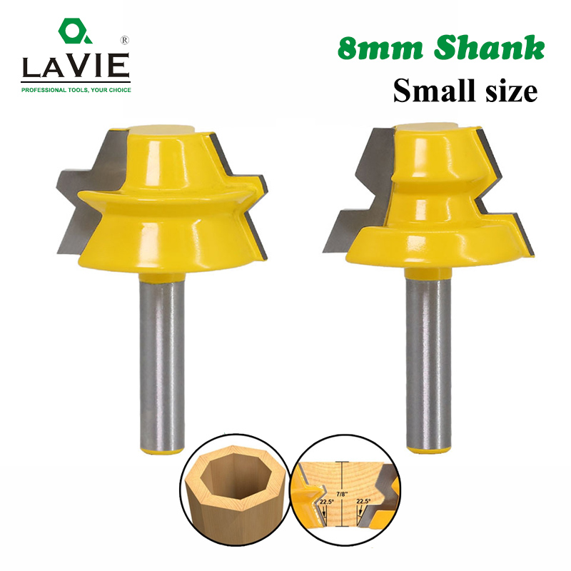 LAVIE 2pcs 8mm Shank 22.5 Degree Lock Miter Tenon Router Bits Set Glue Joinery Milling Cutter For Wood Woodwork Cutters MC02066