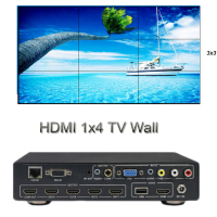 HDMI контроллера видеостены HD 1x4 ТВ стены 1x4 2x2 3x3 4x1 15 режимов Матрица HDMI Splitter Поддержка CVBS VGA HDMI USB TCP/IP RS232