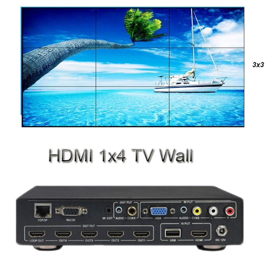 HDMI контроллера видеостены HD 1x4 ТВ стены 1x4 2x2 3x3 4x1 15 режимов Матрица HDMI Splitter Поддержка CVBS VGA HDMI USB TCP/IP RS232