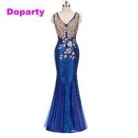 Doparty XS2 2017 lange blue sequin rode mermaid dubai sweetheart elegant floor lengte avondjurken gown dragen voor bruiloftsgasten