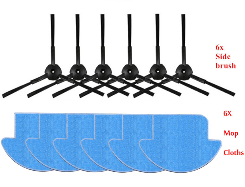 12pcs/set ilife v7s ilife v7s pro robot Vacuum Cleaner Parts kit ( mop Cloths*6+Side Brush*6) Chuwi ILIFE v7s pro 13pcs set ilife v7s ilife v7s pro robot vacuum cleaner parts kit main brush 1 mop cloths 6 side brush 6 chuwi ilife v7s pro