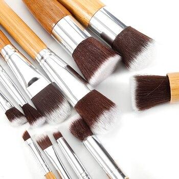11 PCS Bamboo Handle Makeup Brushes Powder Concealer Foundation Brush Facial Mask Beauty Face Make up Brush Cosmetics Tools Set 4