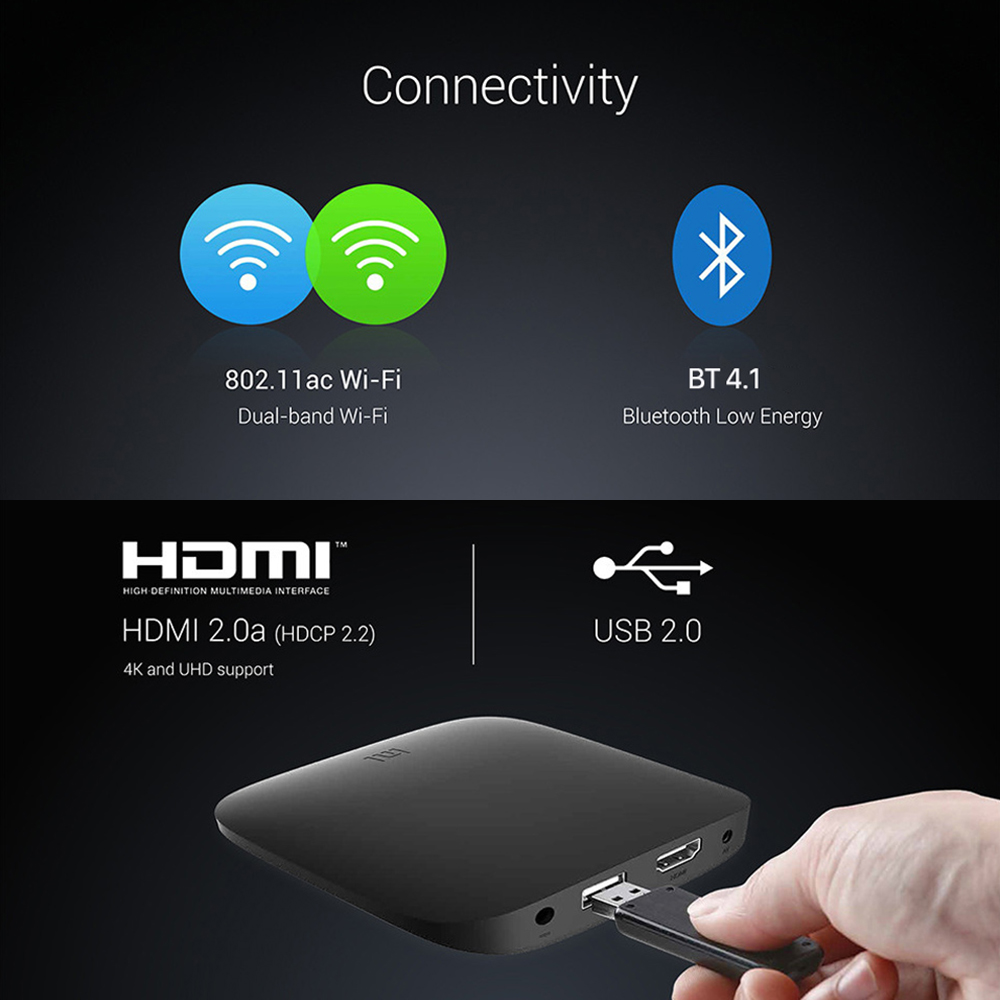 Image 4 - Xiaomi MI BOX 3 Android 8.0 Smart WIFI Bluetooth 4K HDR H.265 Set top Box Youtube Netflix DTS IPTV Media Player Xiaomi MI Box 3-in Set-top Boxes from Consumer Electronics