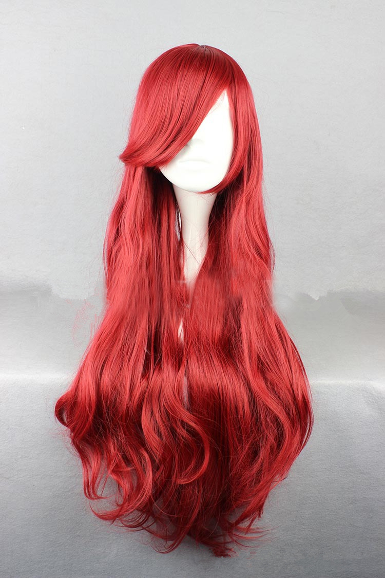 Women Ariel Wig Cosplay Red Synthetic Hair Little Mermaid Body Wave Princess Wig Role Play Costume For Halloween