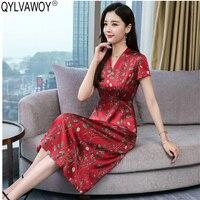 Лето 100% шелковое платье женская одежда 2019 Винтаж корейский красный миди платье с цветочным рисунком элегантные женские платья Vestidos NKL8902 MY2866