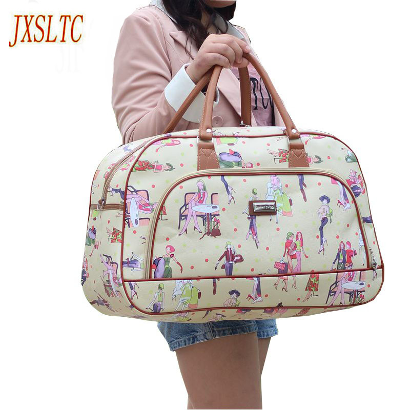 Women Waterproof Leather Travel Duffel Bag Women  Casual Large Capacity Handbag Bag New Beauty Lady Print Luggage Travel Bags